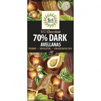 TABLETA CHOCOLATE 70% AVELLANAS 70G SOLNAT